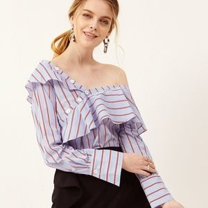 NWT Storets 'Keira' one shoulder striped blouse